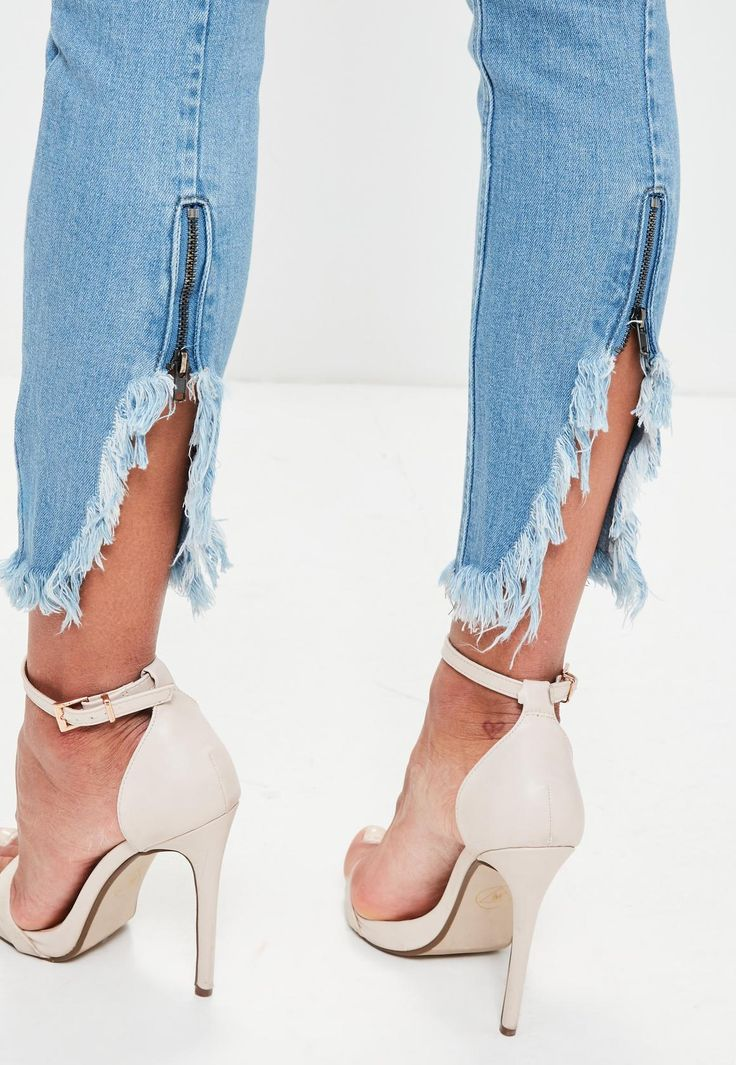 Missguided - Blue Anarchy Zipped Hem Skinny Jeans
