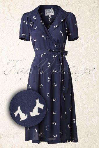 The Seamstress of Bloomsbury Peggy Doggy Dress Navy 106 39 14118 20141125 007W2