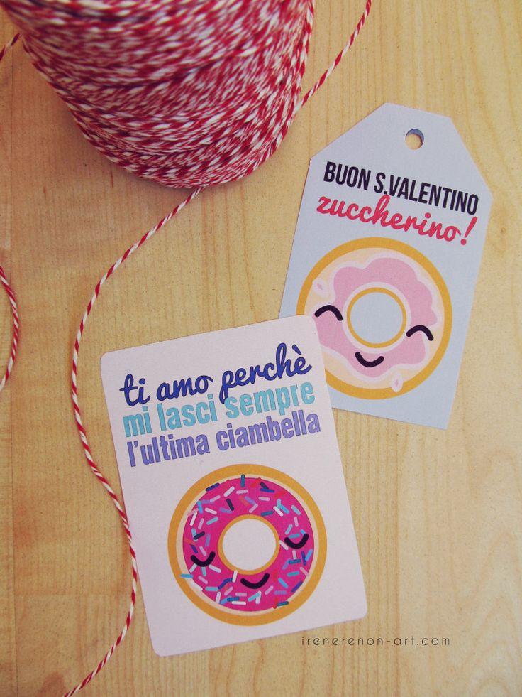 Etichette stampabili per San Valentino #ciambelle #donut #sanvalentino