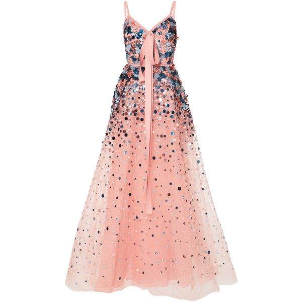 Elie Saab Embellished Gown (508,620 PHP) ❤ liked on Polyvore featuring dresses, gowns, long dresses, vestidos, elie saab, pink, red dresses, long red dress, pink ball gown and elie saab gowns