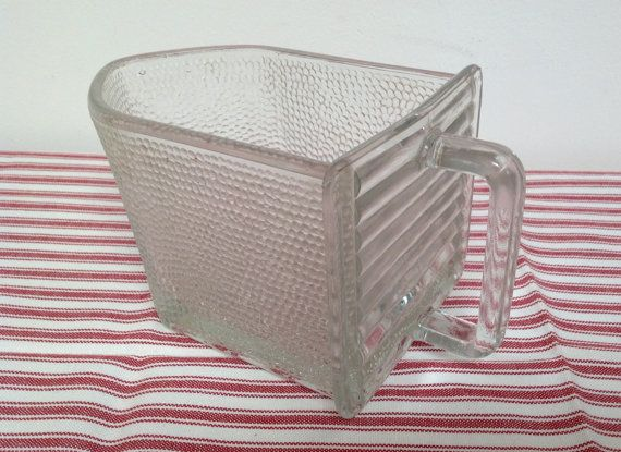 Large vintage glass scoop  glass drawer  marked by karmolijntje
