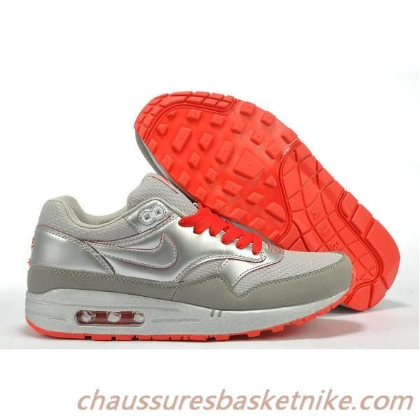 Nike Air Max 87 Gris clair Rouge Chaussures Couple