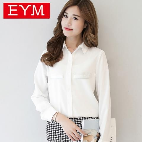 83f59aeab7b  EBay  Women Blouse 2017 New Casual Women S Long Sleeved Solid Shirt Plus  Size Blouses
