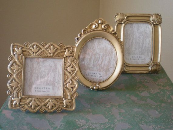gold frame mini small table numbers wedding by abackyardcreation 1650 wedding ideas pinterest table numbers wedding and bridal showers - Mini Gold Frames