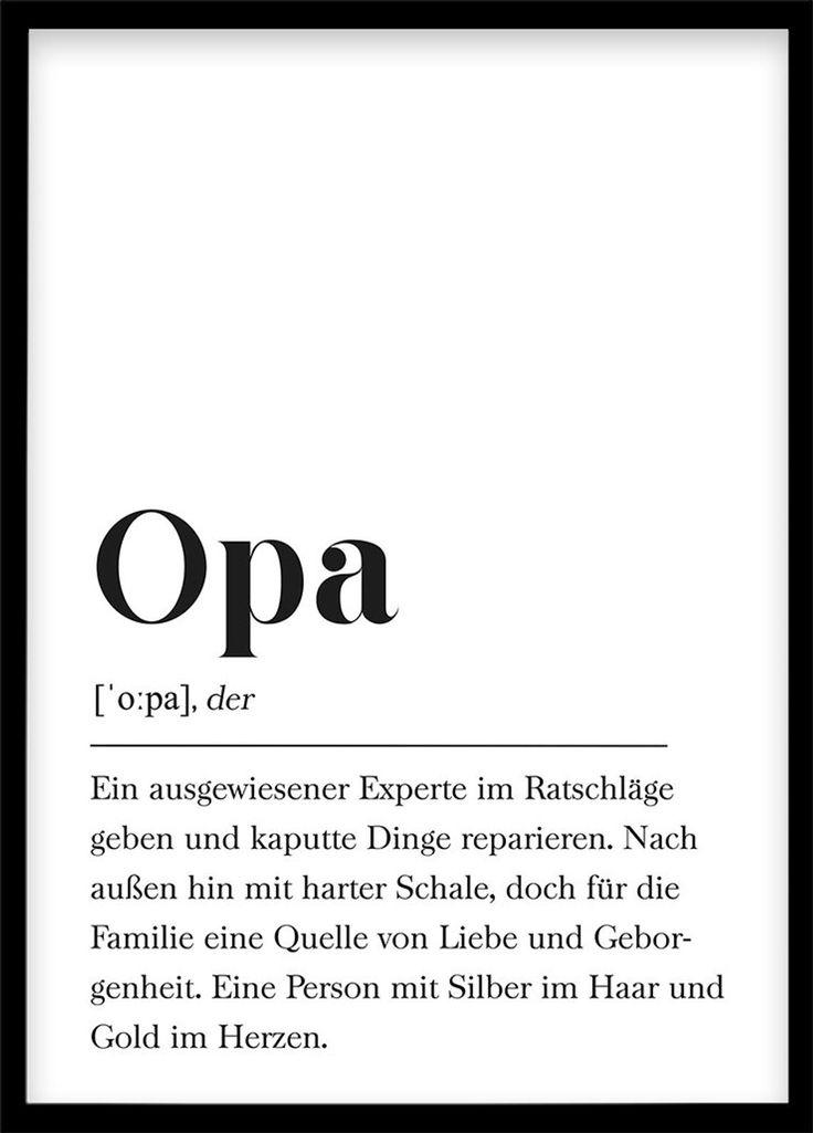 Opa Definition, Geschenk für Großvater, Geburtstag für Großeltern Poster mit Text, Skandinavisch Schwarz Weiß
