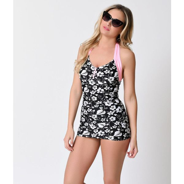 Lolita Girl 1950s Pin Up Black & White Hawaiian Floral Kahula Two... ($53) ❤ liked on Polyvore featuring swimwear, two piece swimsuits, swimsuit swimwear, one-piece swimsuits, black and white one piece swimsuit and one piece swim suit