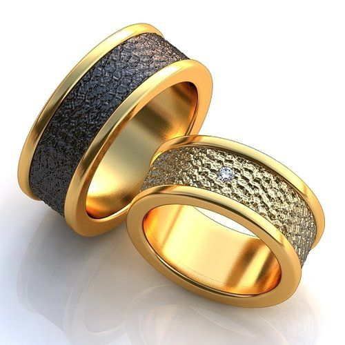 Широкие обручальные кольца с одним бриллиантом