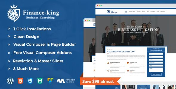Financial King Corporate WordPress Theme - Finance WP by aladinthemes Financial King is a finance & business WordPress theme. It is specially designed for Business, Financial Advisor, Accountant, Law