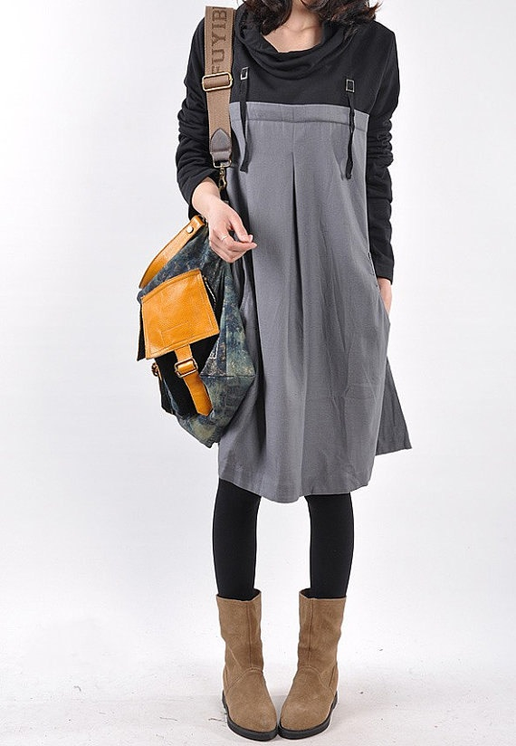 Fall cotton pile collar the Patchwork tunic long sleeve by MaLieb, $89.00
