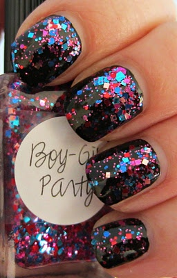 Boy-Girl PartyReal Nails, Boys Girls Parties, Sparkle Nails, Black Nails, Glitter Nails, Parties Nails, Nails Polish, New Years, Sparkly Nails
