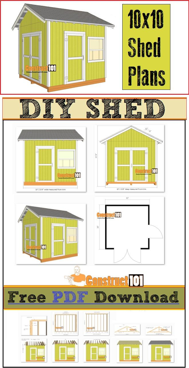 Shed plans for a 10x10 garden shed includes free pdf for Pdf shed plans