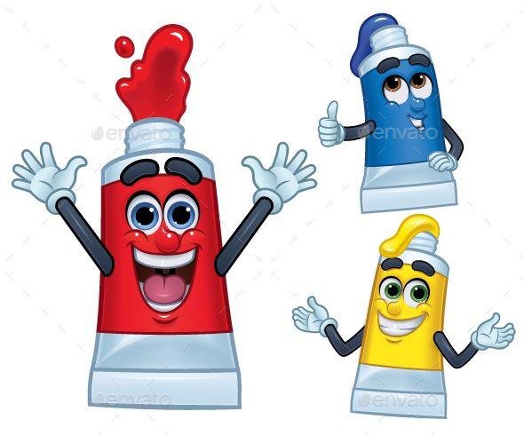 3 Cartoon Character Color Paint Tubes Paint Tubes Cartoon Characters Cartoon