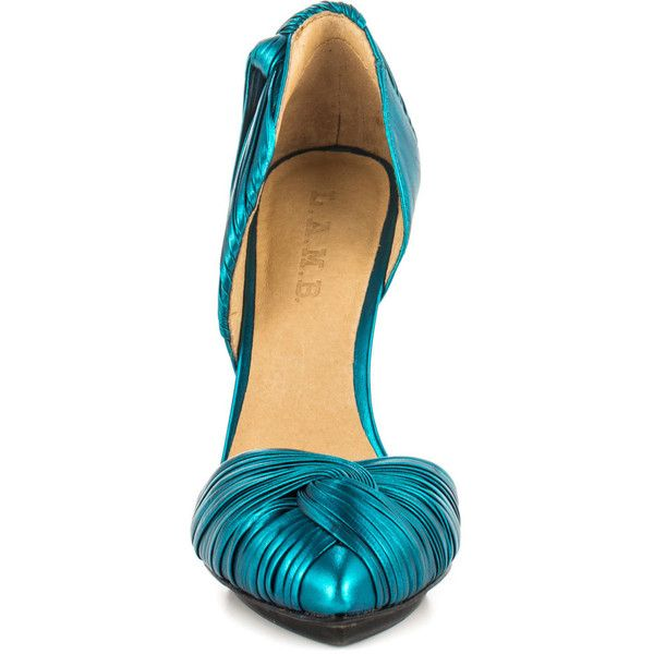 L.A.M.B. Women's Warner - Teal Metallic ($172) ❤ liked on Polyvore featuring shoes, pumps, heels, sapatos, leather sole shoes, teal pumps, evening pumps, special occasion shoes and high heel shoes