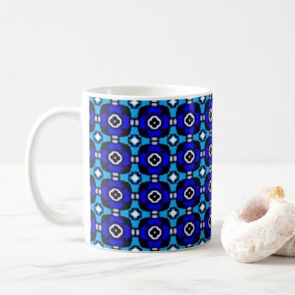 Turquoise and Cobalt Blue Parquet Tiled Pattern Coffee Mug - classic gifts gift ideas diy custom unique
