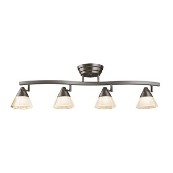 Contemporary track lighting kit supports 4 sleek track heads to deliver lighting where you need it.