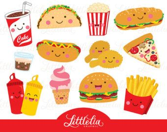 Fast Food Clipart  Hamburger Clip art Food by GraphicPassion