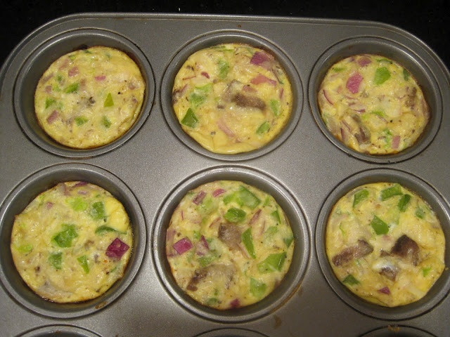 Mini Omelettes- muffin tins, 350 degrees for 20-25 minutes.
