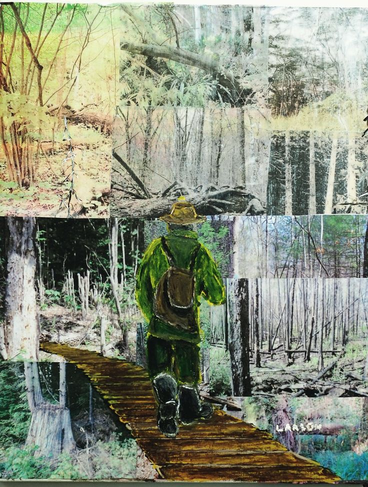 ''Hiker''   (Photographs and Acrylic Painting.)