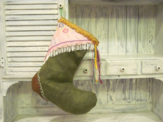 Handmade big size felt Christmas stocking, Xmas stocking holder, Christmas stocking hanger, christmas gift ideas ornament home decoration by HTArtcraftAndVintage