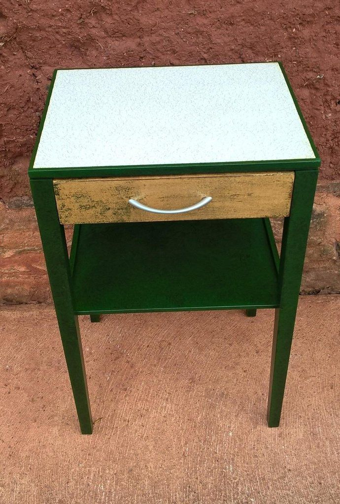 This pair of teak retro bedside table date from the 1970'sThey have been refinished a specialised green paint effect, which has a varnished finish.The single dr