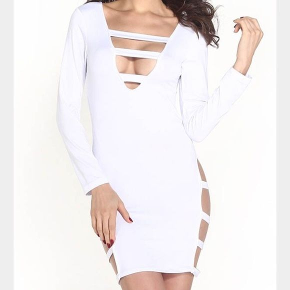 All white bodycon dress!! All white bodycon dress, with opening in the front and sides..only worn once practically new. Dresses Mini