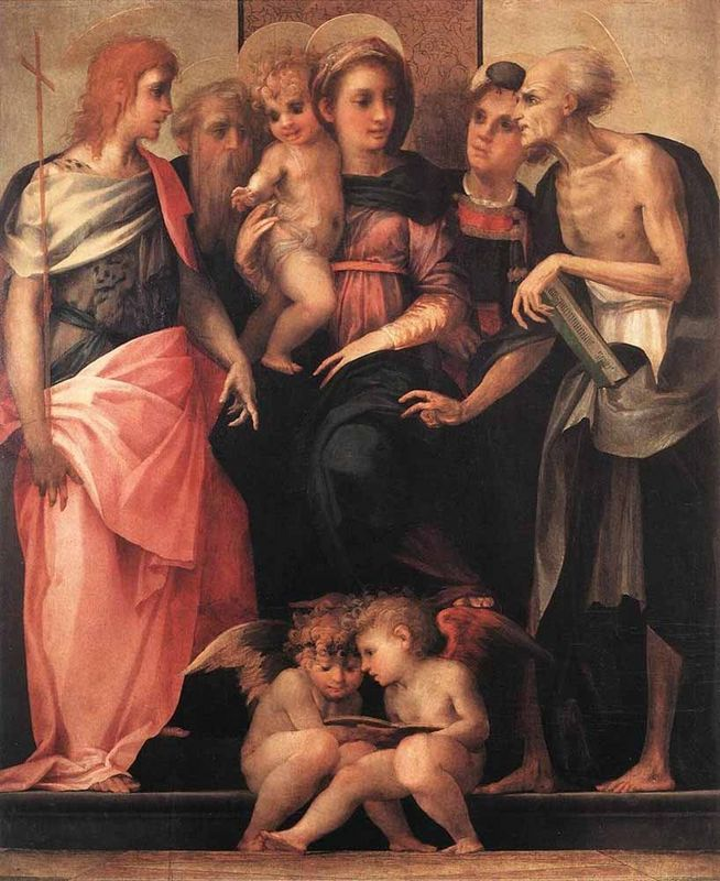 Rosso Fiorentino -  Madonna Enthroned with Four Saints, 1518. Oil on wood, 172 x 141 cm. Galleria degli Uffizi, Florence.
