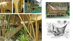 Villa Kelapa | Ibuku | Inspired by Sumatran Minangkabau architecture, Villa Kelapa is sheltered by two horn shaped roofs, one stacked on over the other. This building is larger and longer than most Green Village homes. Like most of the Green Village houses it has a large open living space. Location: Sibang Gede, Bali Client: Individual Site Area: 1425 sqm Floor Area: 466 sqm Bamboo Material Use (structure): 8500 m' Completion: March 2011