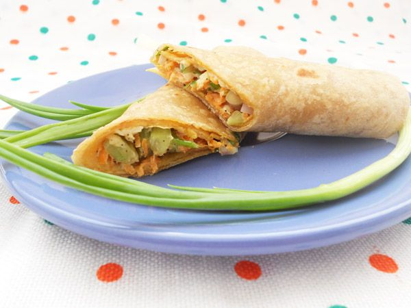 Truck load of veggies are wrapped in whole wheat roti with a special yogurt sauce... You will love them for lunch, a snack, or even an appetizer!