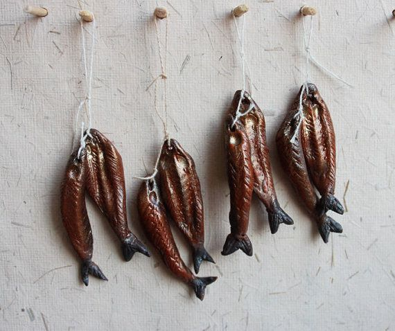 Red herring one inch minature strung to hang in by medievalmorsels