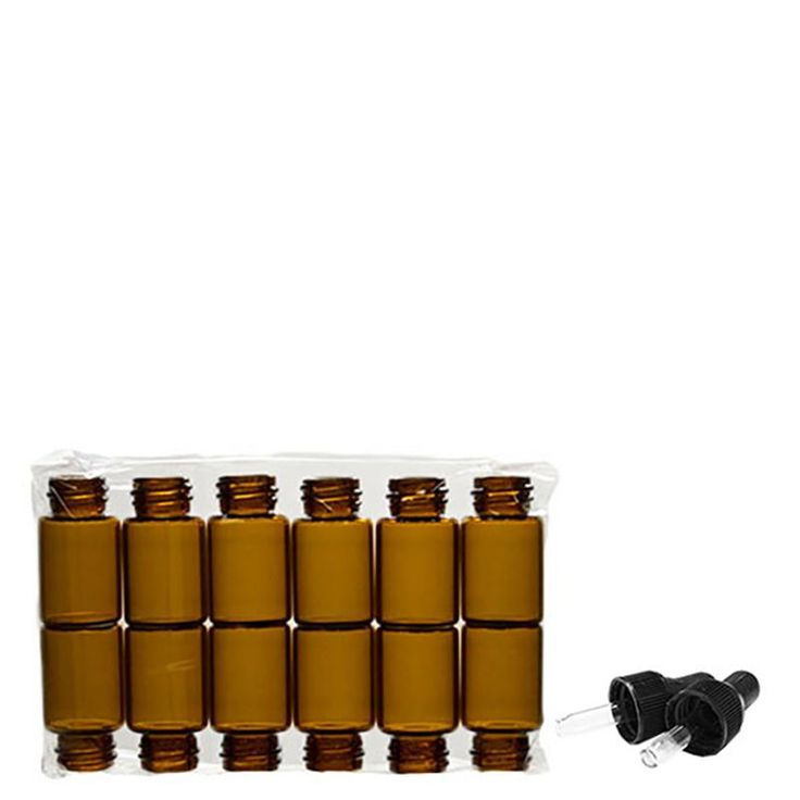 5/8 Dram Amber Glass Bottle with Nitrile Rubber Black Dropper