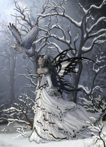 I love the dress and the owl. A mysterious time in this setting too. The artist who paints these is incredibly talented.