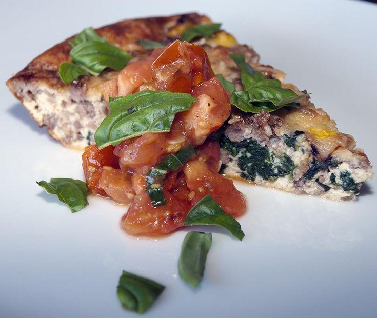Ground Beef, Parmesan and Spinach Fritatta / @DJ Foodie / DJFoodie.com