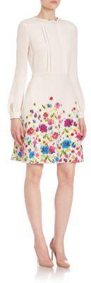 Oscar de la Renta Long-Sleeve Floral-Print Silk Dress