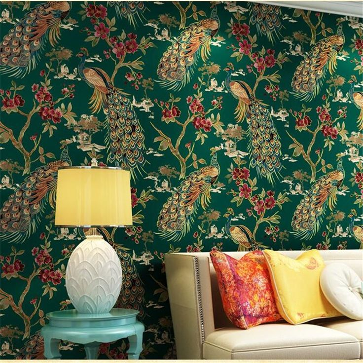 58.50$  Watch now - http://alikwh.worldwells.pw/go.php?t=32761577154 - Exotic Southeast Asia style retro green peacock wallpaper living room bedroom bedside background wallpapers papel de parede 58.50$