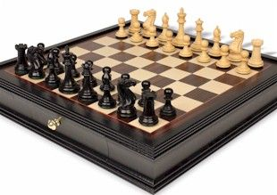 Wood Chess Set With Case