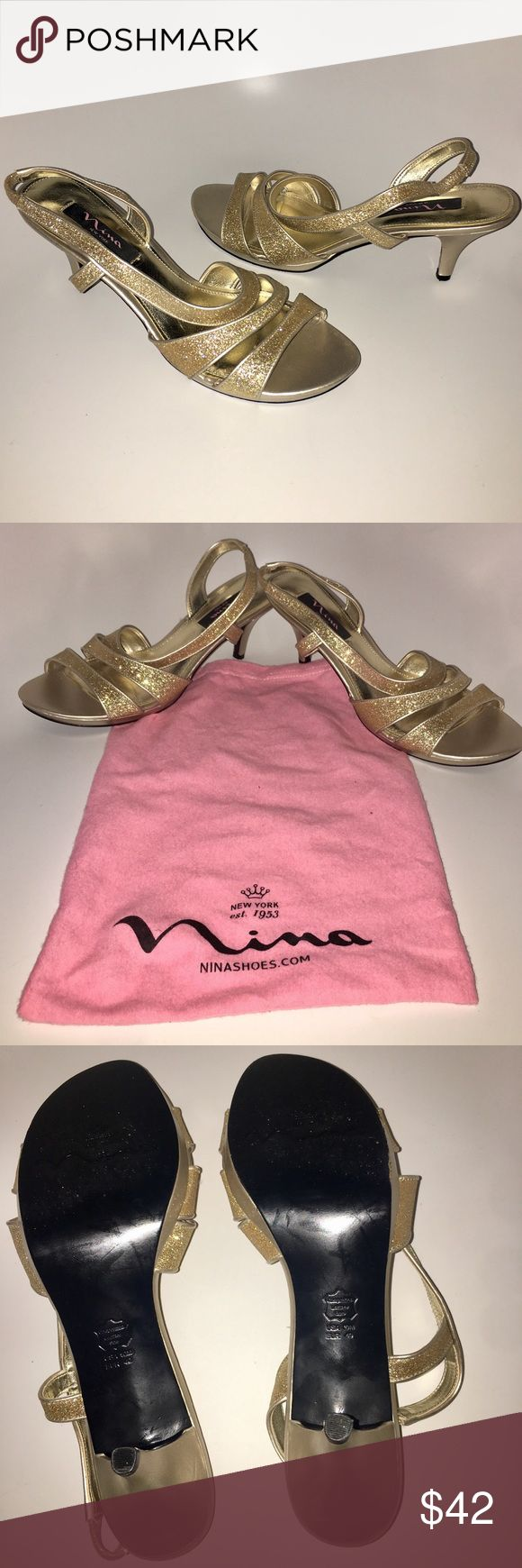 Gorgeous Sparkly Gold Open Toe Pumps These gorgeous shoes have glittery gold details. You can wear to dress up or use to accessorize with your favorite pair of jeans or skirt.  •Nina •Size 10 •Comes With Dust Bag •Worn Only One Time Touch of Nina Shoes Heels