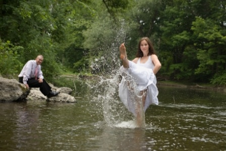 Bride Kicking in the Water