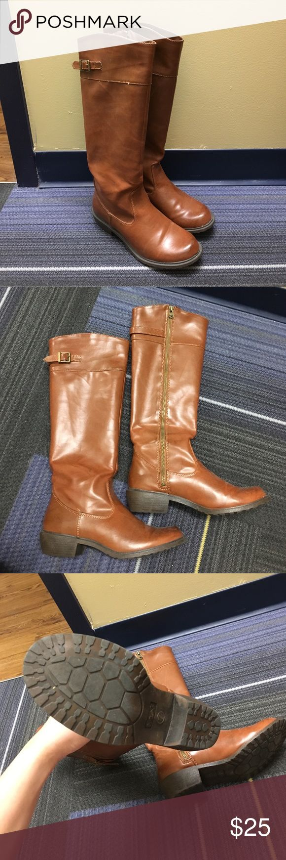 Tall Brown Boots Super cute, faux leather boots! Selling because they're too tight around my calves. Minor scratches from one or two times wear. Please make sure they fit your leg! (Top of boots measure a circumference of around 37cm). MIA Shoes Winter & Rain Boots