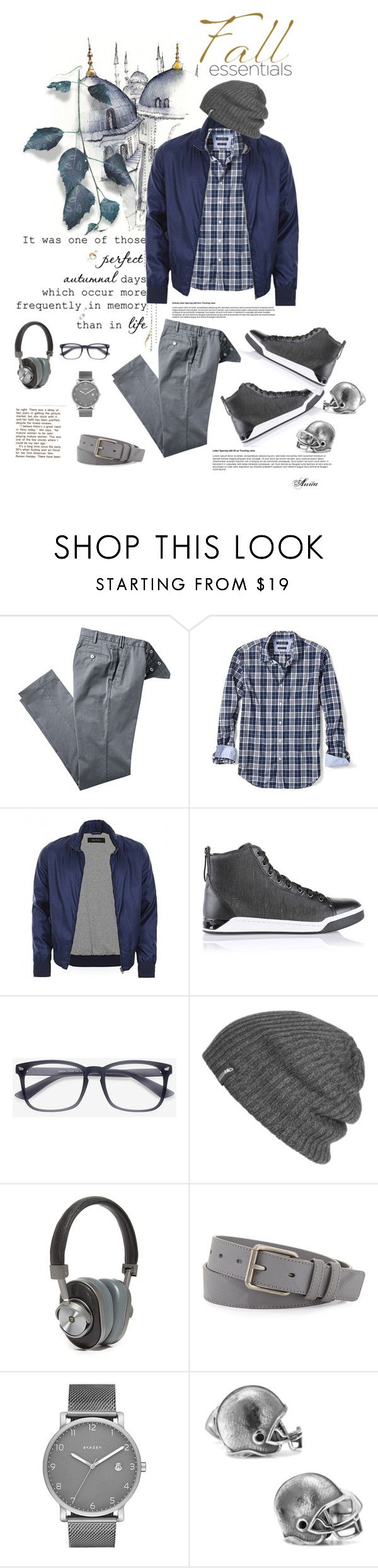 """Fall Essential for Men in Gray"" by wodecai ❤ liked on Polyvore featuring Banana Republic, Gucci, Diesel, Outdoor Research, Master & Dynamic, Burberry, Skagen, Cufflinks, Inc., men's fashion and menswear"