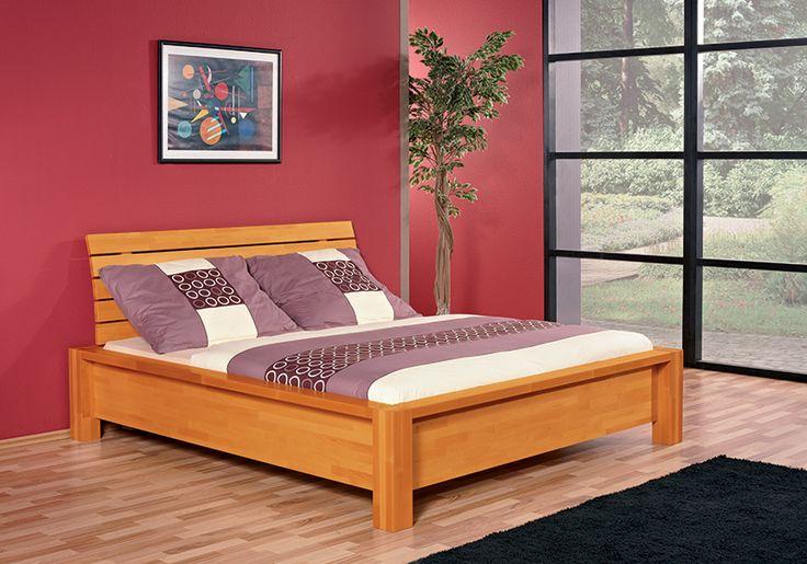 Celomasivní buková postel JULIE desén - buk mořený na med
