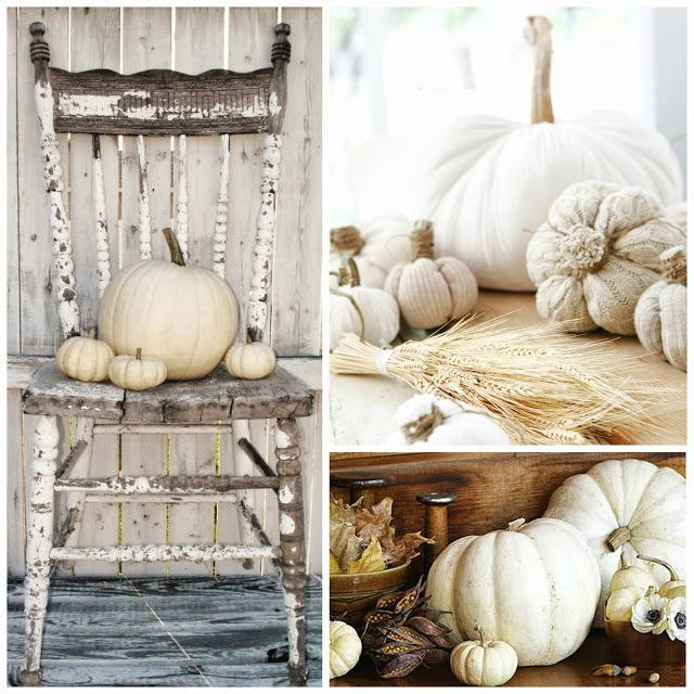 fall decorating | Neutral Fall decoration with white pumpkins.