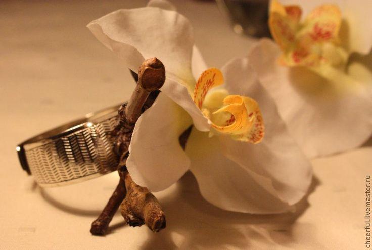 """Купить Кольцо для салфетки """"Орхидея"""" - белый, кольца для салфеток, свадебные украшения, свадебные аксессуары"""