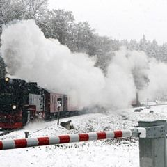Highland rail line in Harz mountains covered with blanket of snow