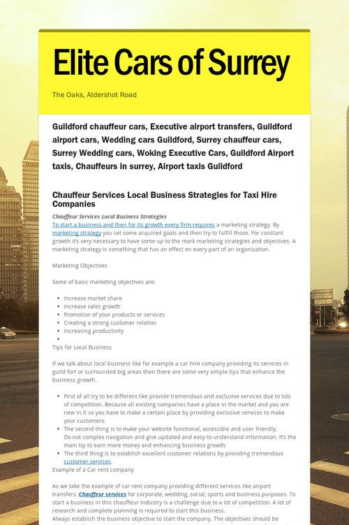 Chauffeur Services Local Business Strategies For Taxi Hire Companies Strategiesto Start A And