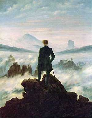 Der Wanderer über dem Nebelmeer(Viandante sul mare di nebbia) - Caspar David Friedrich