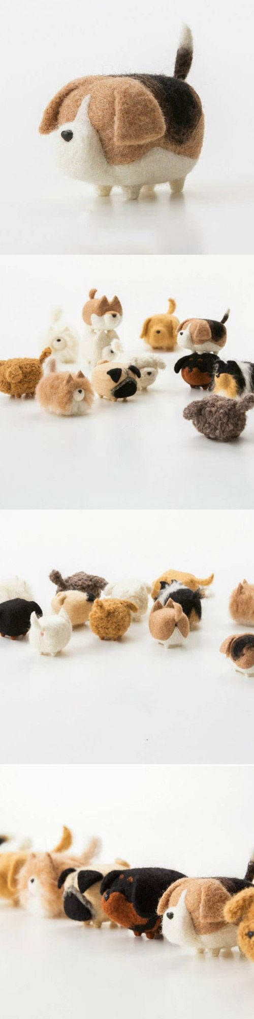 Handmade felted felting project cute animal Bloodhound dogs puppy felted wool doll