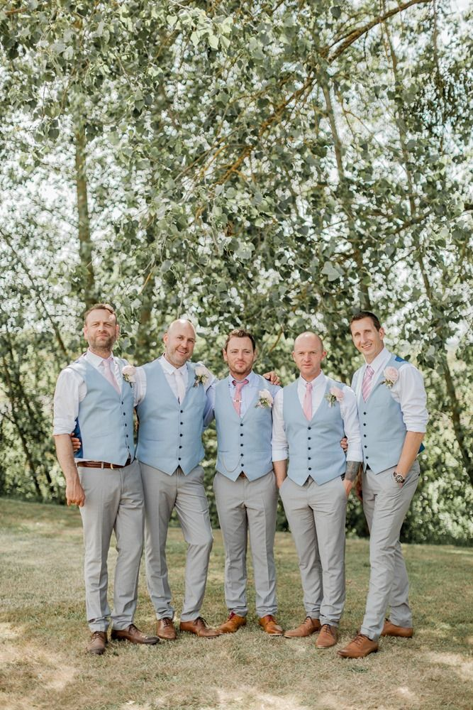 Groomsmen in Serenity blue Waistcoats & Rose Quartz Pink ties | Almonry Barn South West Wedding Venue | Romantic Wedding Decor | Pink Colour Scheme | Penoy & Rose Floral Displays | Cake Table | Naomi Kenton Photography | http://www.rockmywedding.co.uk/louise-paul