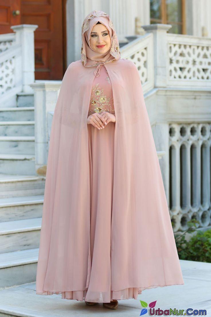 e22e47ccce667 2018/2019 Yeni Sezon Özel Tasarım Abiye Koleksiyonu - Tesettürlü Abiye  Elbise - Pul Payet Detaylı Pudra Tesettür Abiye Elbise 7647PD #tesett…