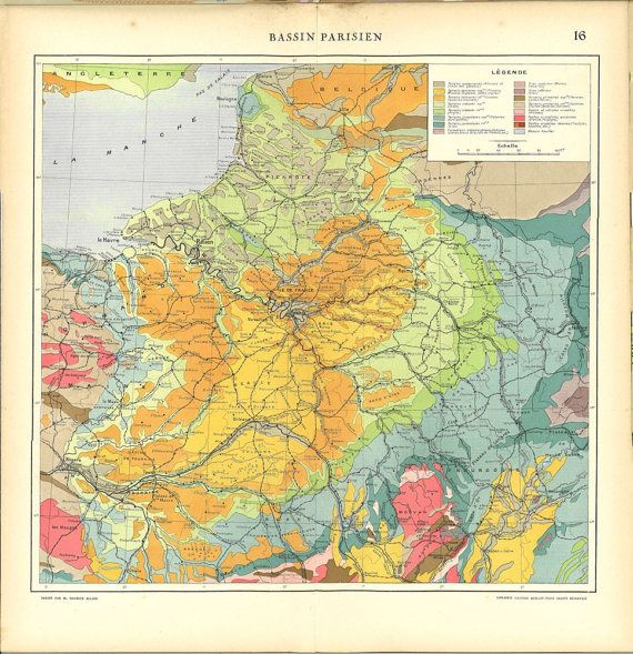 Paris Basin Map  1930s Vintage Map of France by CarambasVintage