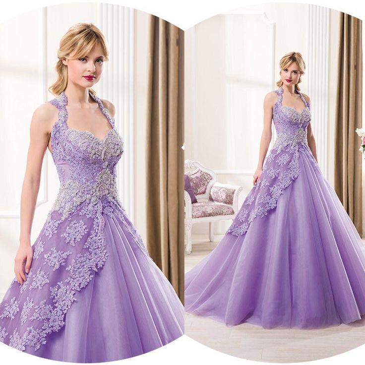 lavender wedding dresses | Colored Wedding Dresses 2015 Lavender A Line Wedding Gowns Lace ...